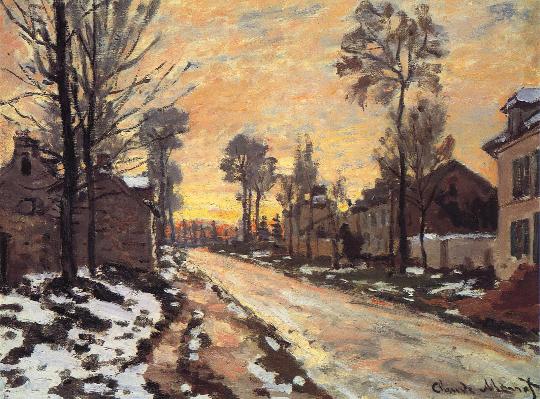 (Road at Louveciennes, Melting Snow, Sunset), 1870, Claude Monet.