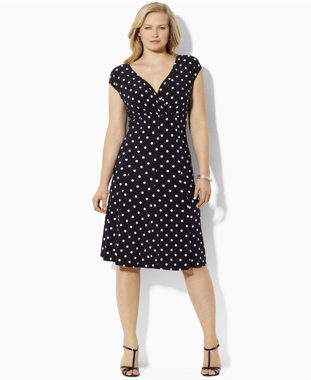 Lauren Ralph Lauren Plus Size Polka Dot Cap Sleeve Dress Dresses