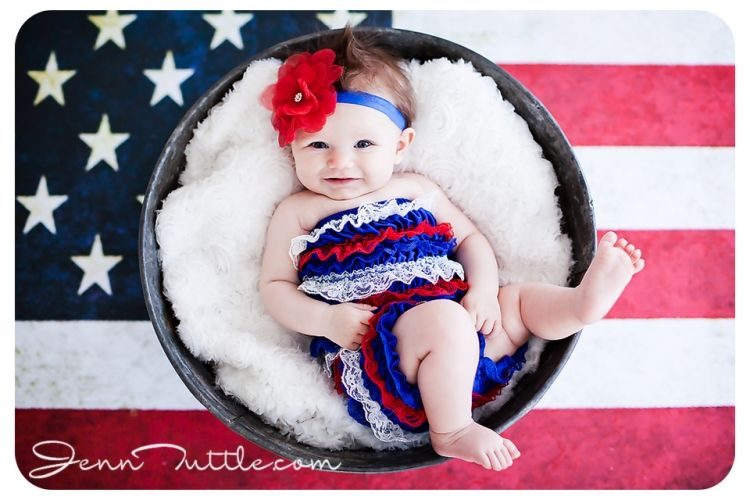 3 Month Baby Flag Background Bucket Prop Baby Photo Ideas Baby