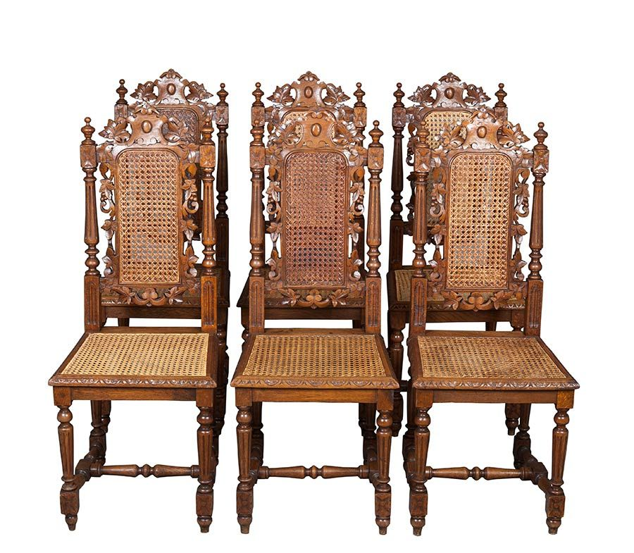 Six Antique French Carved Dining Chairs. Cane back and ...