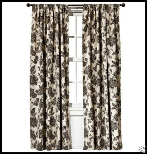 Curtains Ideas black and khaki curtains : 2 Window Drape Farrah Floral Black Panel Pole Top Black Khaki ...