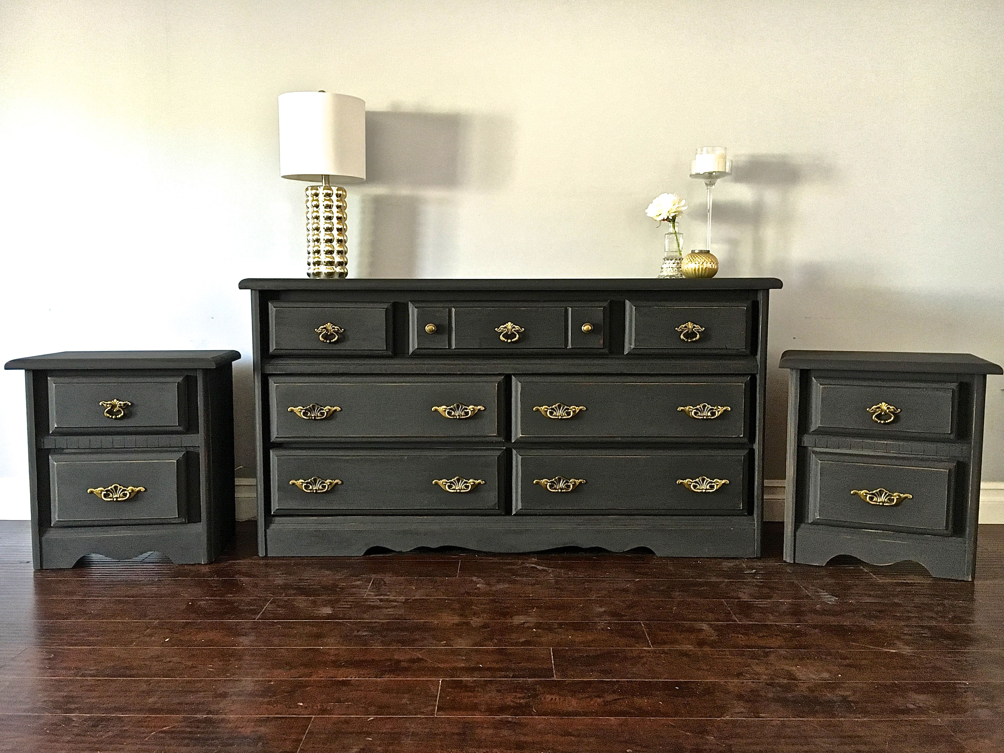 Shabby Chic Charcoal Gray Gold Bedroom Set 650 Sold