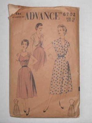 Vintage 1950s ADVANCE PATTERN sun dress SUNDRESS BOLERO sz 12