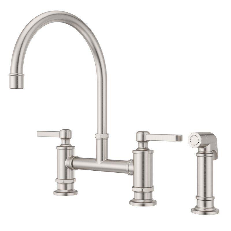 Pfister Port Haven Kitchen Bridge Faucet With Side Spray Wayfair In 2020 Bridge Faucet Kitchen Kitchen Faucet Faucet