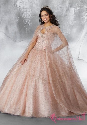 Mori Lee Vizcaya Crystal Beading on a Patterned Glitter Mesh Ballgown 89221 - Mori lee quinceanera dresses, Quinceanera dresses gold, Quincenera dresses, Quinceanera dresses, Sweet 15 dresses, Quince dresses - Description Glamorous quinceañera dress featuring a beautifully beaded, high halter corset bodice  Delicate off the shoulder chandelier sleeves and a full ballgown skirt complete the look  Matching stole included  Additional Details SKU 89221
