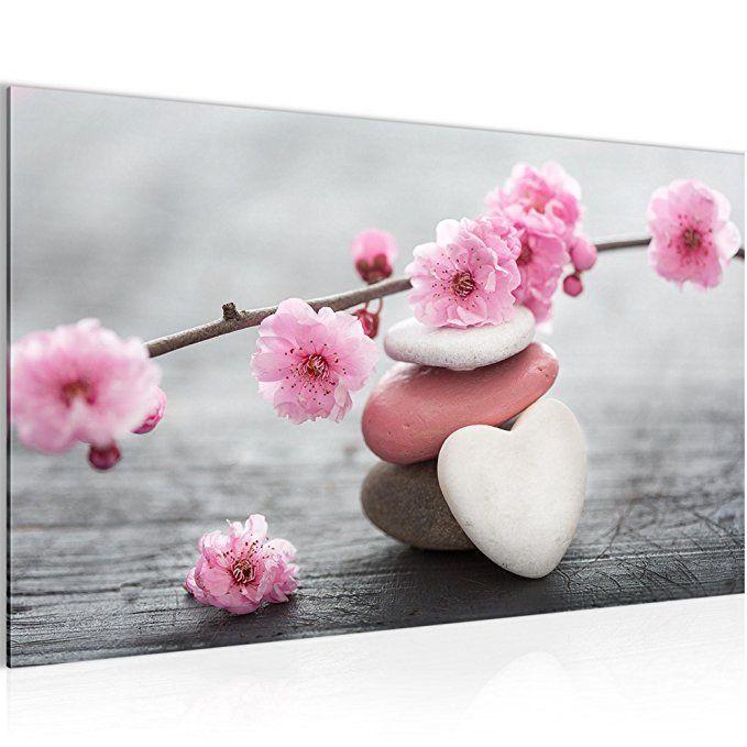 Bilder Feng Shui Blumen Wandbild Vlies   Leinwand Bild XXL Format Wandbilder  Wohnzimmer Wohnung Deko Kunstdrucke