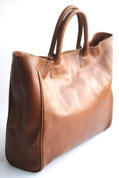 Oversize Leather Work Tote Bag In Cognac Avenue By Vellepurse 110 00