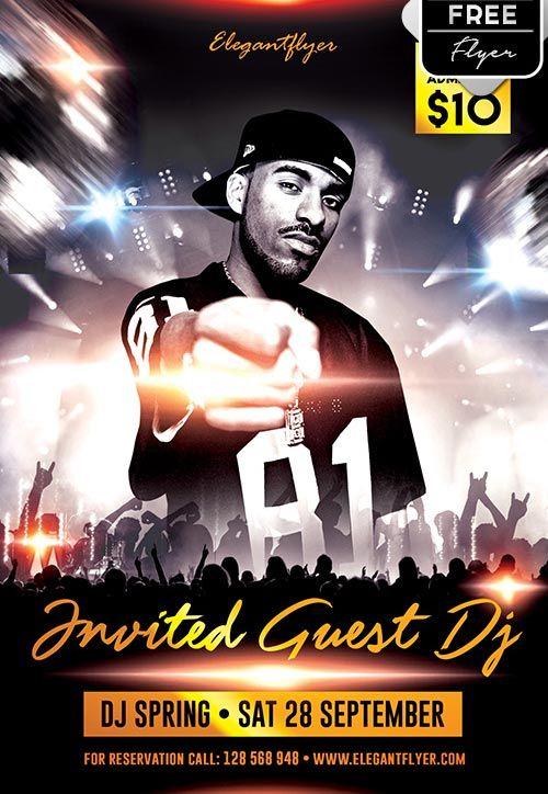 plantilla psd gratis invited guest dj logo alicante producciones