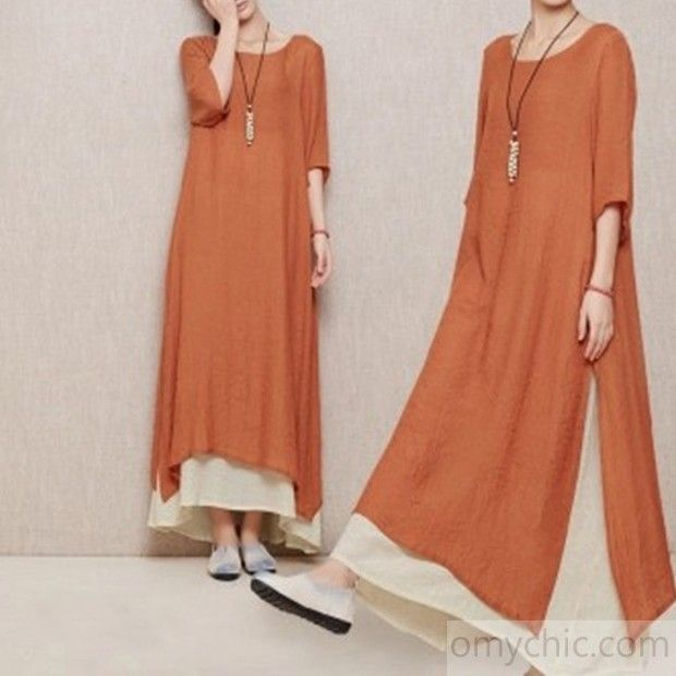7703e87159e new dress for summers-Brick red layered summer dress long linen maxi dresses  plus size casual sundresses