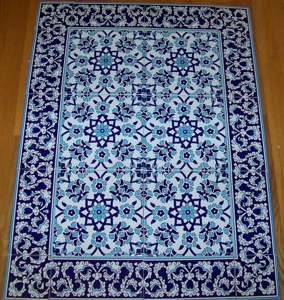 Carnation Daisy 32 X 24 Iznik Blue White Turkish Ceramic Tile Mural