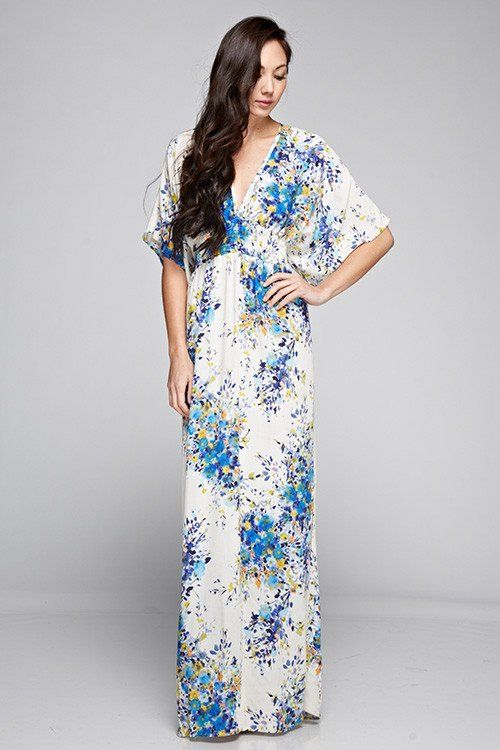 This gorgeous floral print maxi dress is just what you need this season. It features a classic floral print with a smocked waist, kimono sleeves, V-neck & back. You will not be disappointed in this gorgeous maxi dress! Small/Medium fits size 2-6 Medium/Large fits size 8-12 Fabric: 100% Rayon ALL CLEARANCE SALES ARE FINAL!