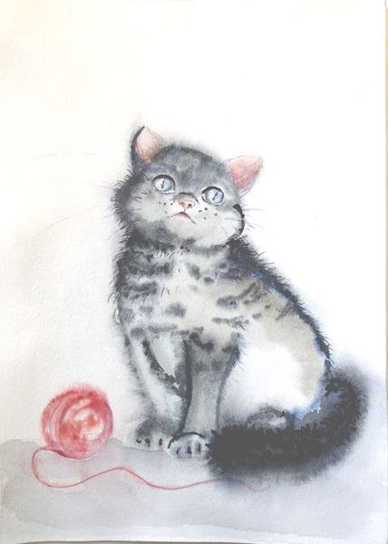 Watercolour paintings – Cat painting Watercolor artwork – a unique product by Radikacolours on DaWanda