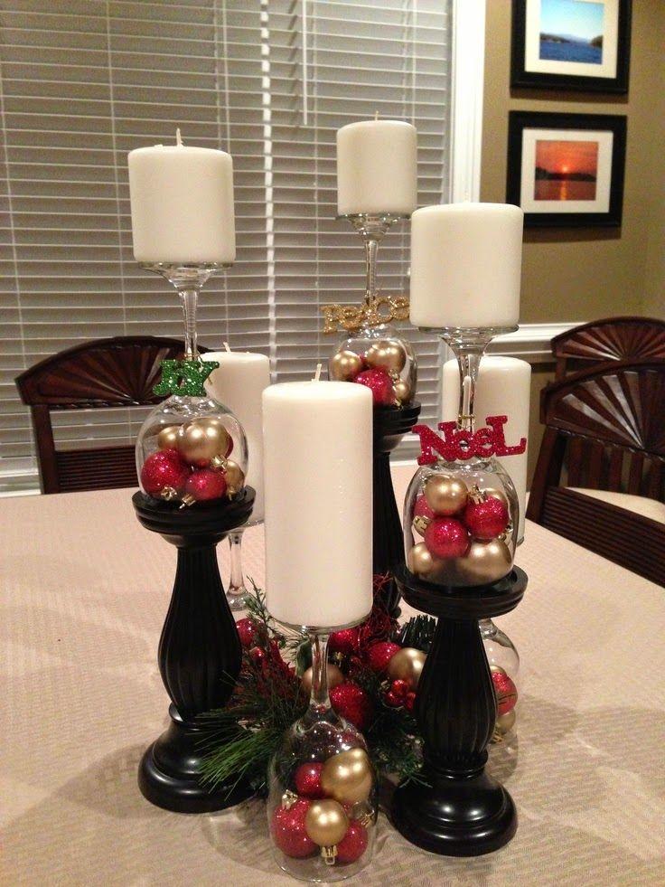 Ideas para adornos navide os con copas de vino adornos de - Ideas adornos navidenos ...