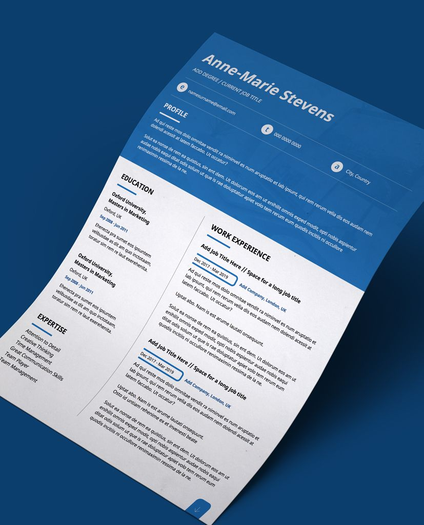 Editable CV Template in PDF Blue Header Modern 2 Page