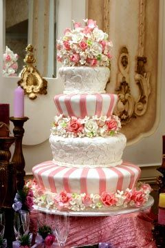 Pink And White Four Tier Mad Hatter Designer Wedding Cake Its A Fake Rental To Save The Bride Money Amazing Had No Idea That Was Even Thing