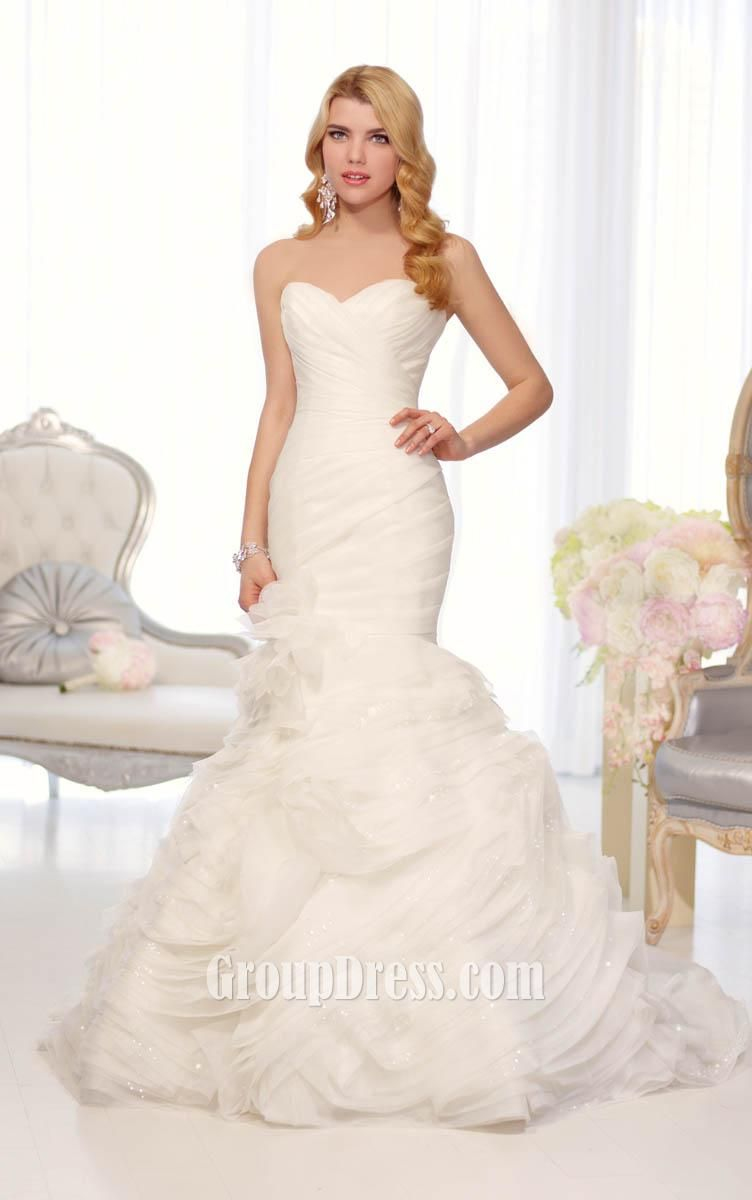 Organza fit and flare flange skirt, sweetheart strapless drop waist ...