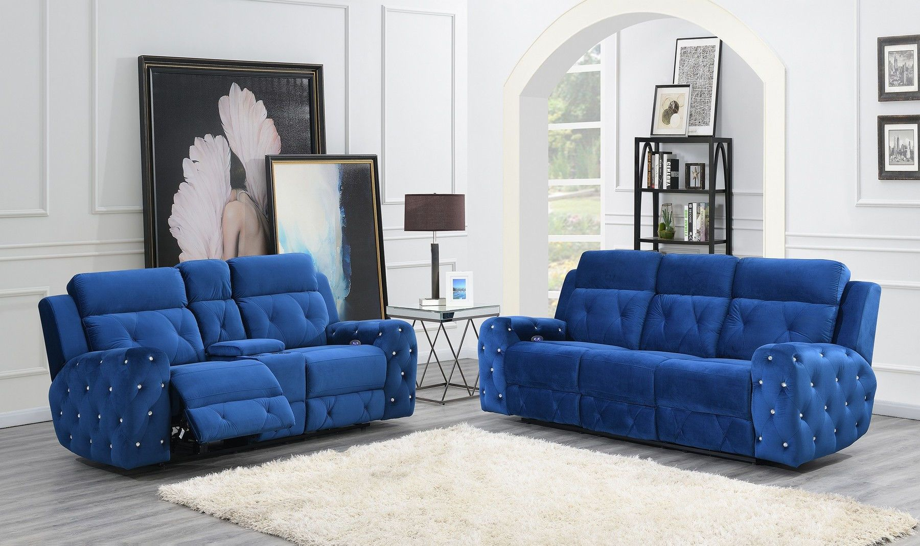 Best Global Usa G8311 Blue Velvet Fabric Tufted Reclining Sofa 400 x 300