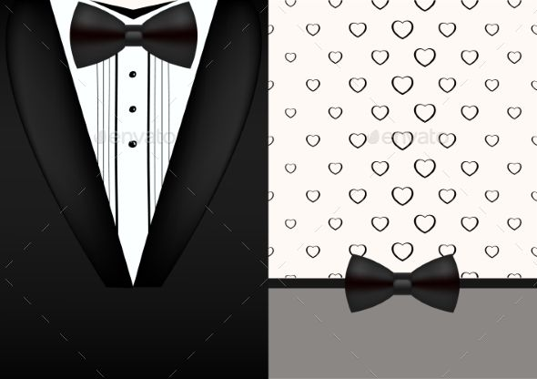 Vector Bow Tie Tuxedo Invitation Design Template  Invitation