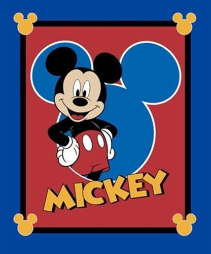 Disney Mickey Mouse Traditional Oh Boy Large Cotton Fabric Panel