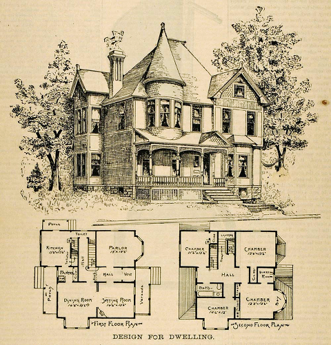 The Main Elements Of The Queen Anne Victorian Home Style Victorian House Plans Architectural Floor Plans Old Victorian Homes