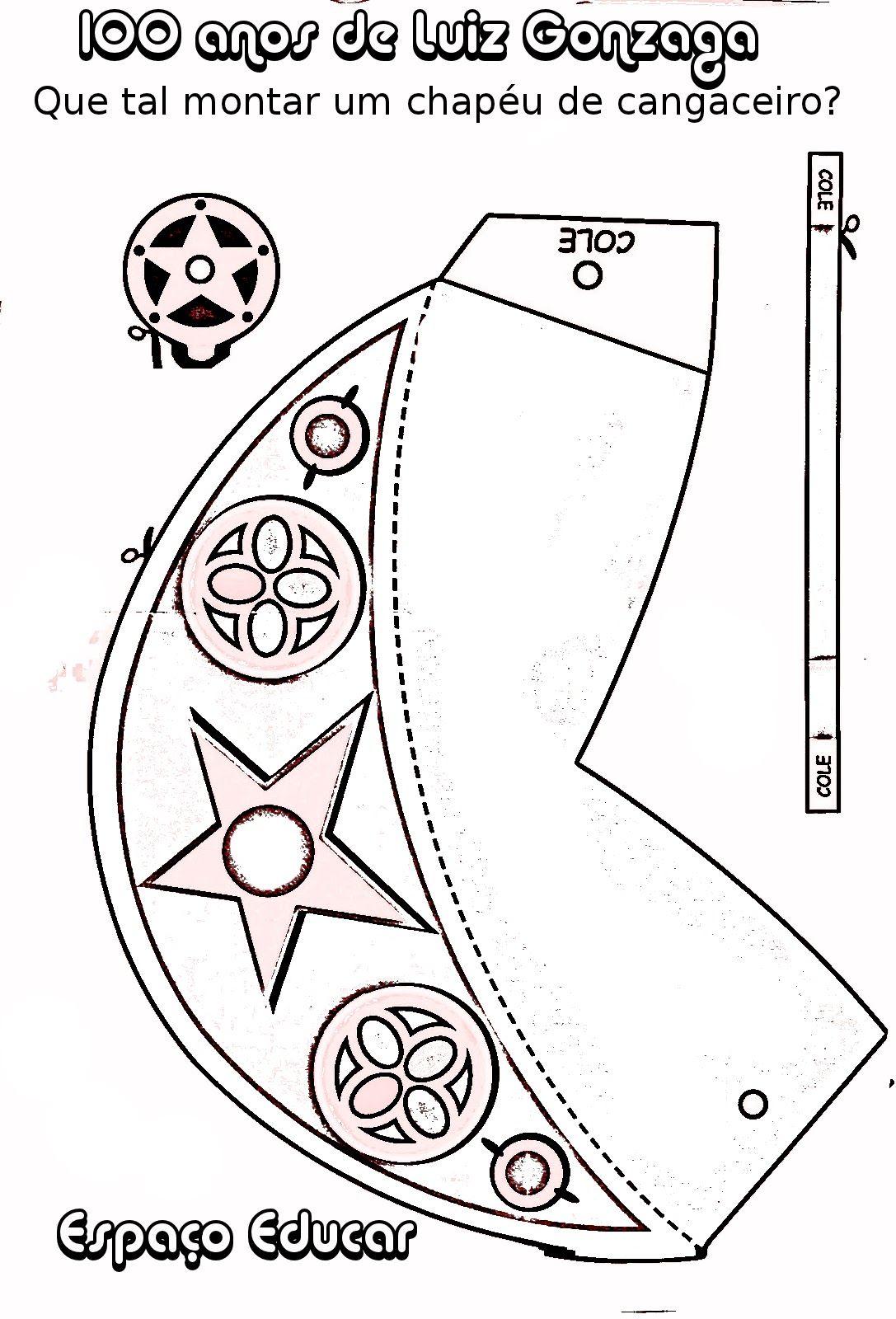 molde de chapéu de cangaceiro para imprimir recortar e montar