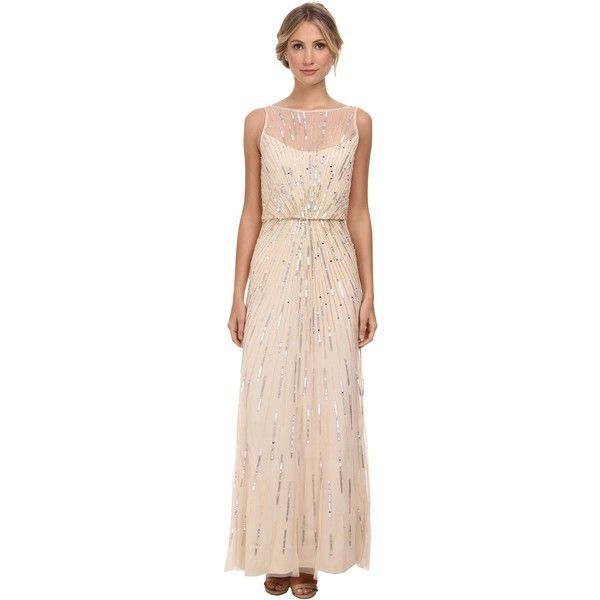 Aidan Mattox Illusion Neck Beaded Gown Women s Dress d3c2cf059e4f