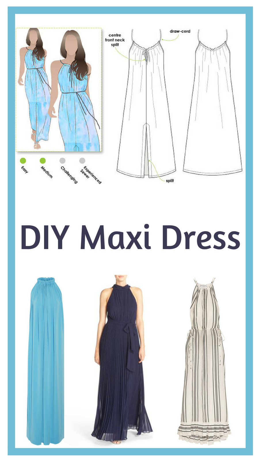 I love maxi dresses for the summer. Cool sewing pattern. afflink ...