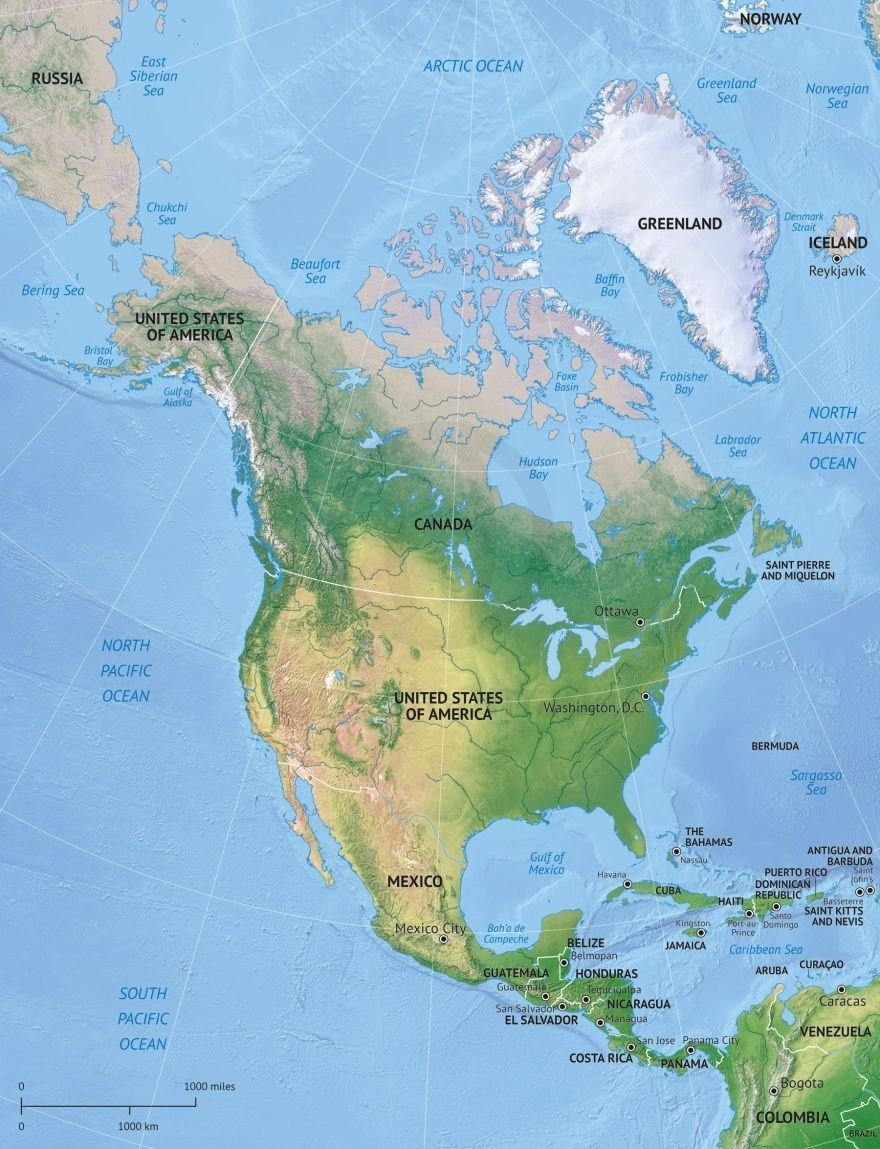 Map Of North America Continent Political With Shaded Relief North America Map America Continent North America Continent