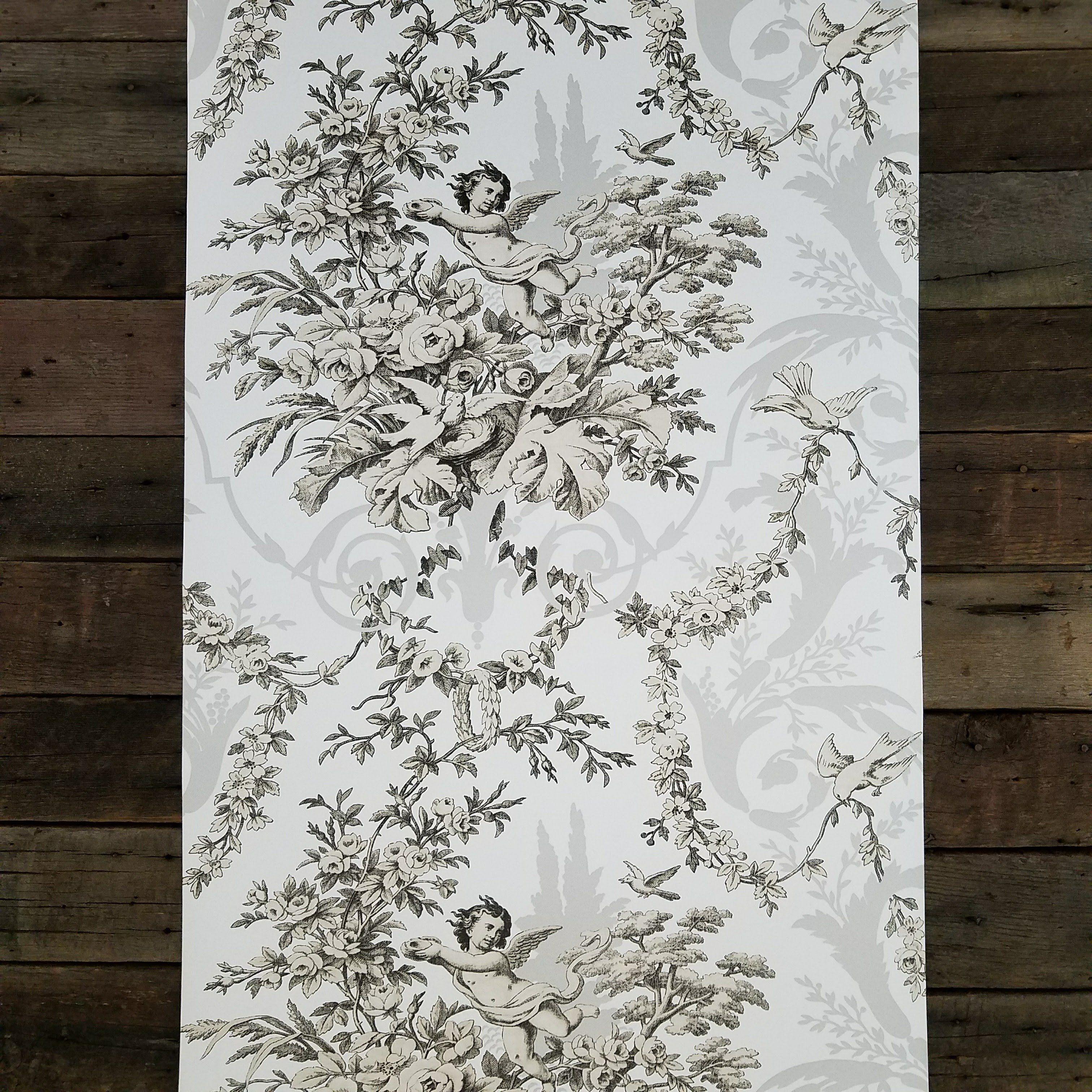 Victorian Cherub Floral Wallpaper in Black and White