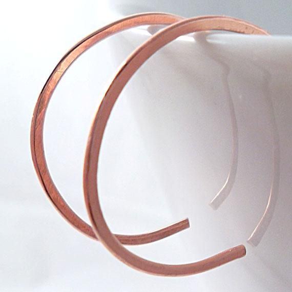Tiny Copper Hoop Earrings