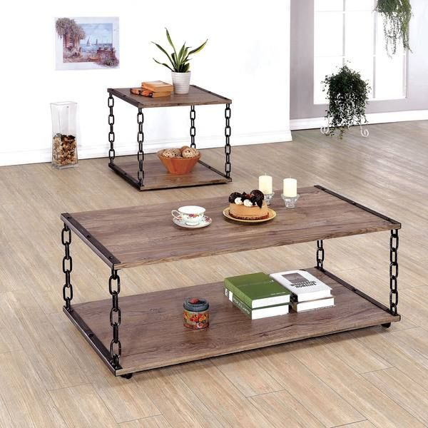 Porteno Industrial Weathered 2 Piece Accent Table Set By