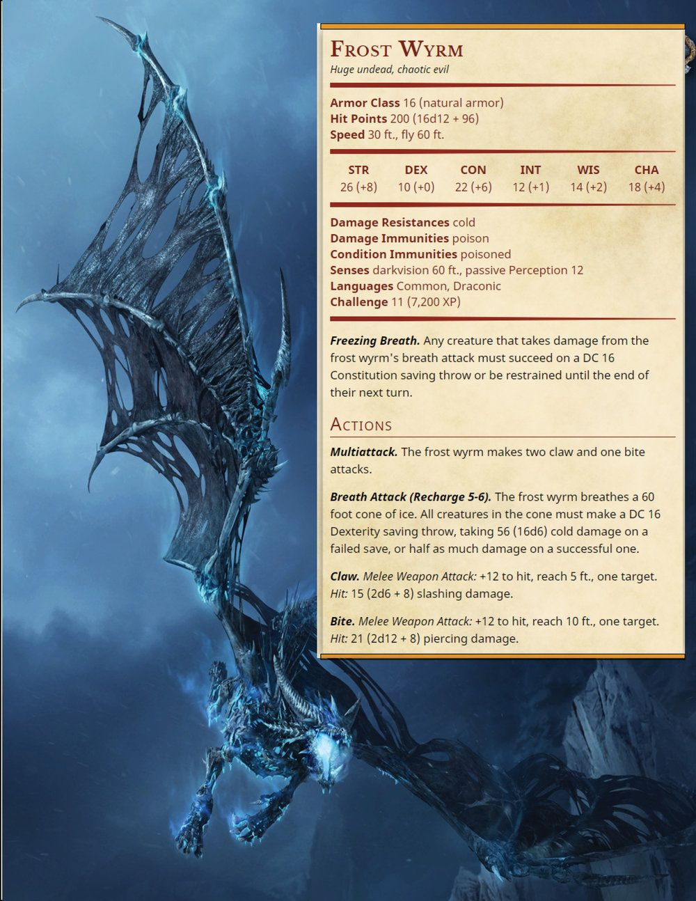 Frost Wyrm   Warcraft 3 Conversions in 2019   Dnd monsters, Dnd