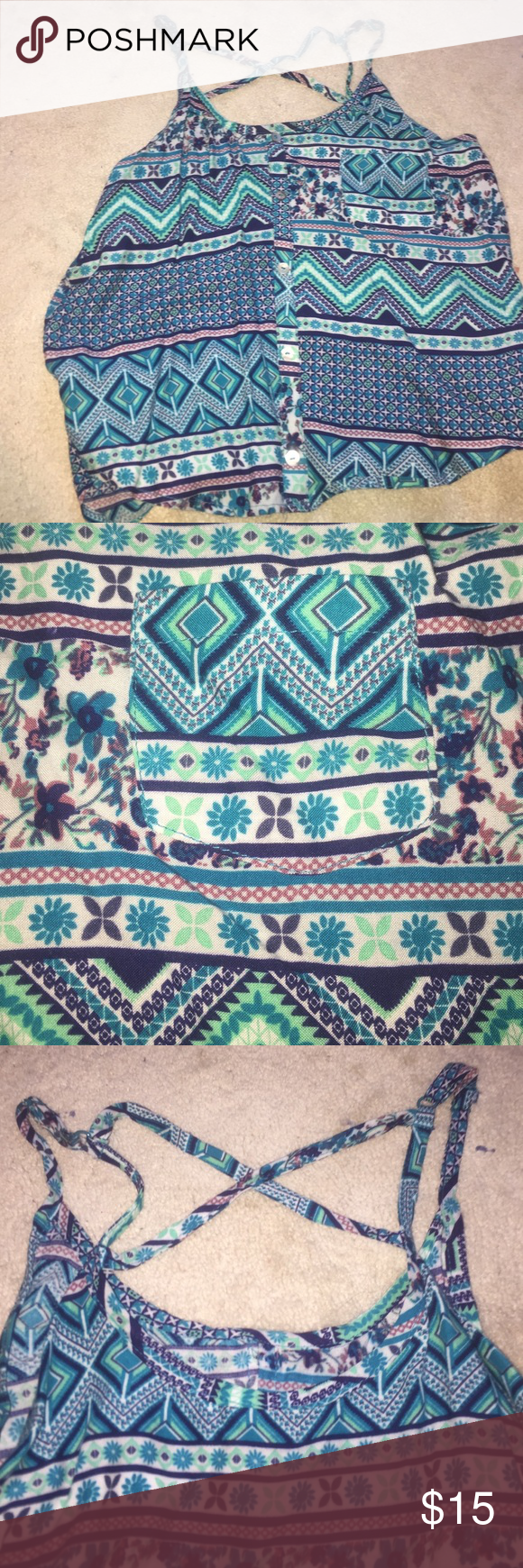 Teal printed cropped tank top Strapped back (shown in picture) NWOT Rue21 Tops Tank Tops