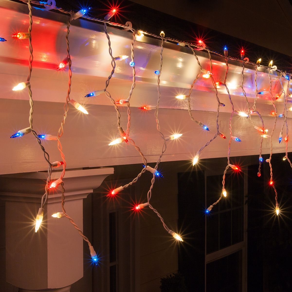 Red White And Blue Icicle Lights White Wire Christmas Lights Etc Icicle Lights Blue Christmas Lights White Wire Christmas Lights
