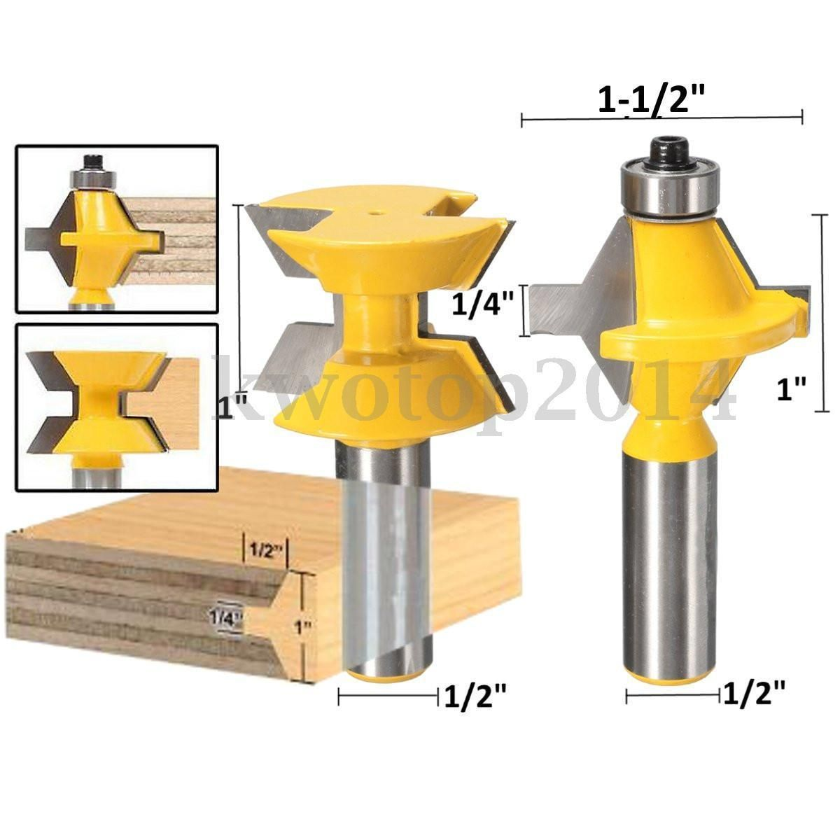 2x 120 Deg Matched Tongue Groove Router Bit 1 2 Sh Woodworking Edge Banding Router Bits Router Bit Set Router Woodworking