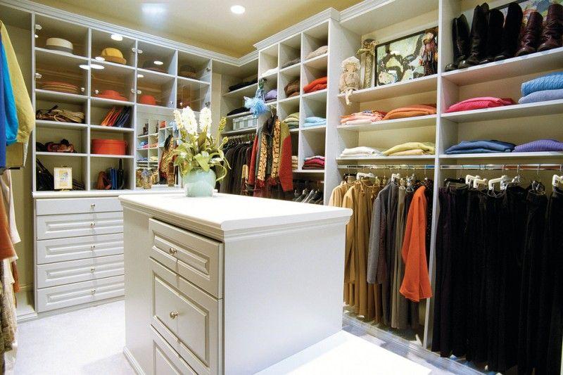 Large White Melamine Walk In Closet With White Melamine Center