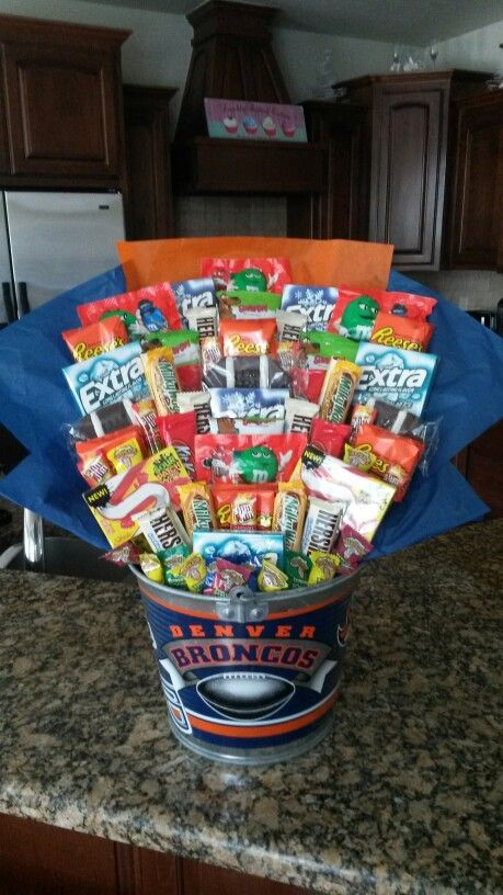 Denver Broncos Candy Bouquet- filled with favorite candy and snacks. Great birthday gift for husband!