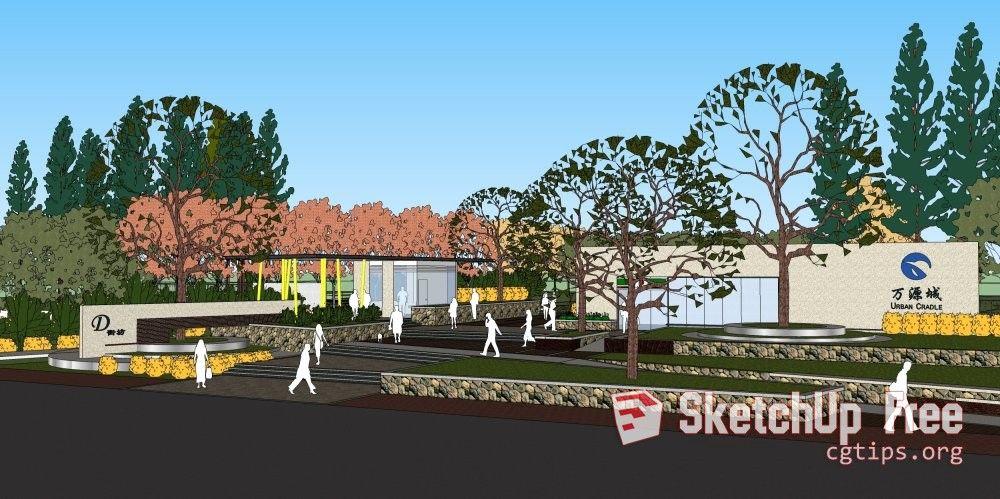 1164 Exterior Landscape Scene Sketchup Model Free Download