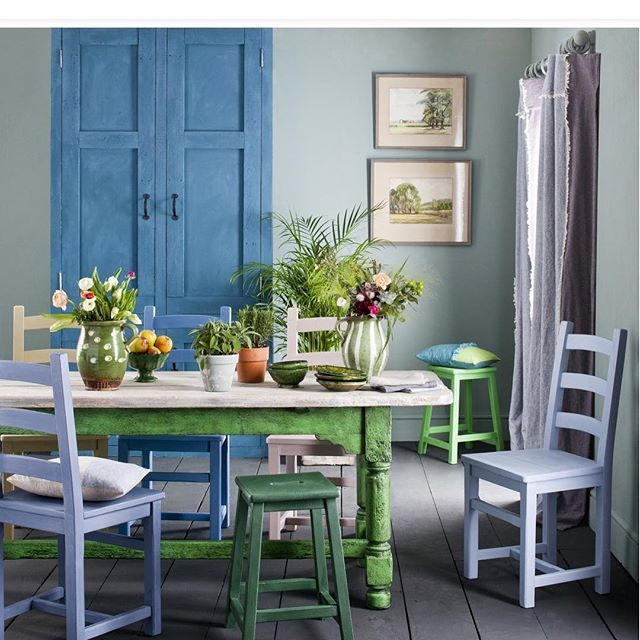 Gorgeous dining room Some strong soft blues and greens with pretty