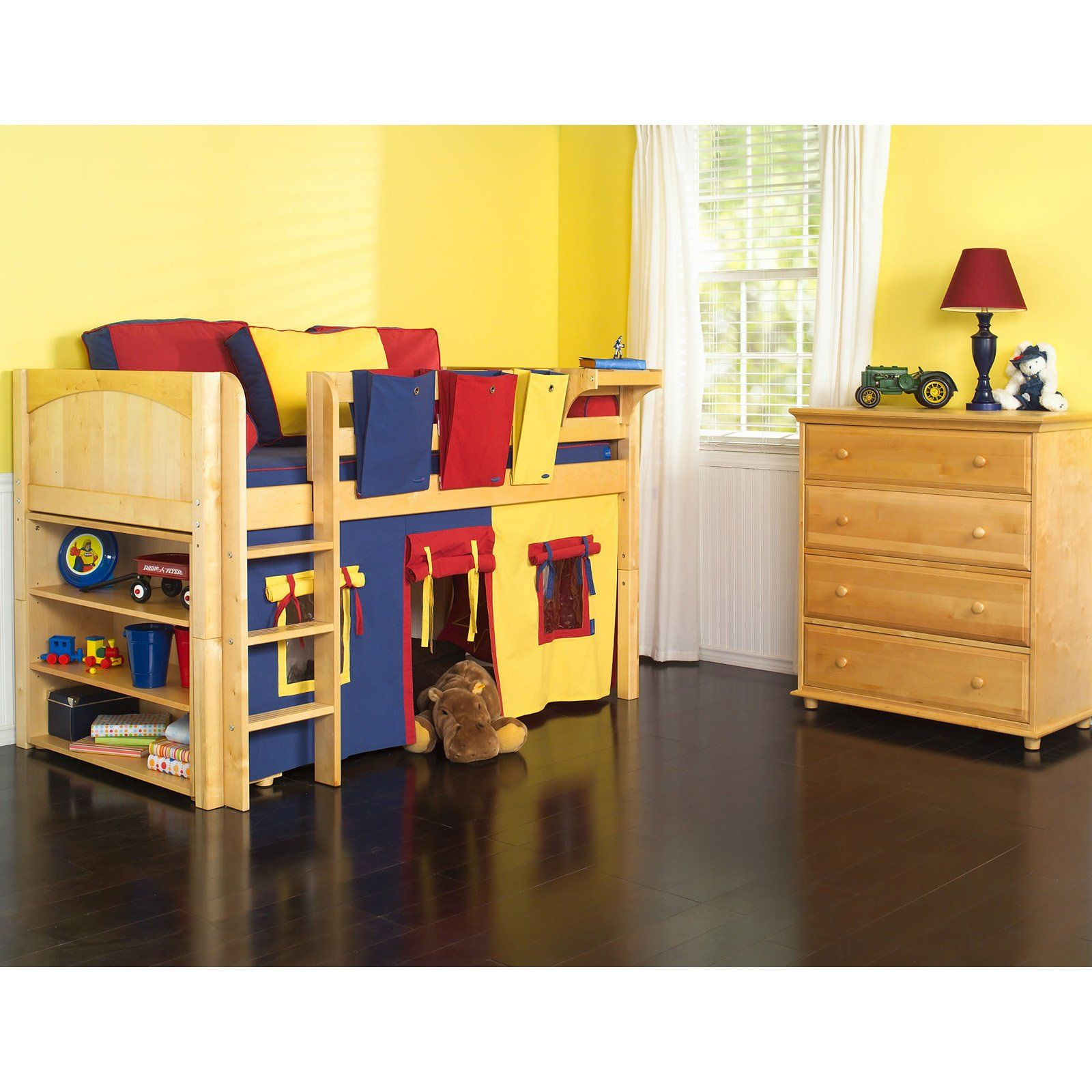 Twin low loft bed with slide  Have to have it Low Rider Boy Tent Bed   Kidus spaces