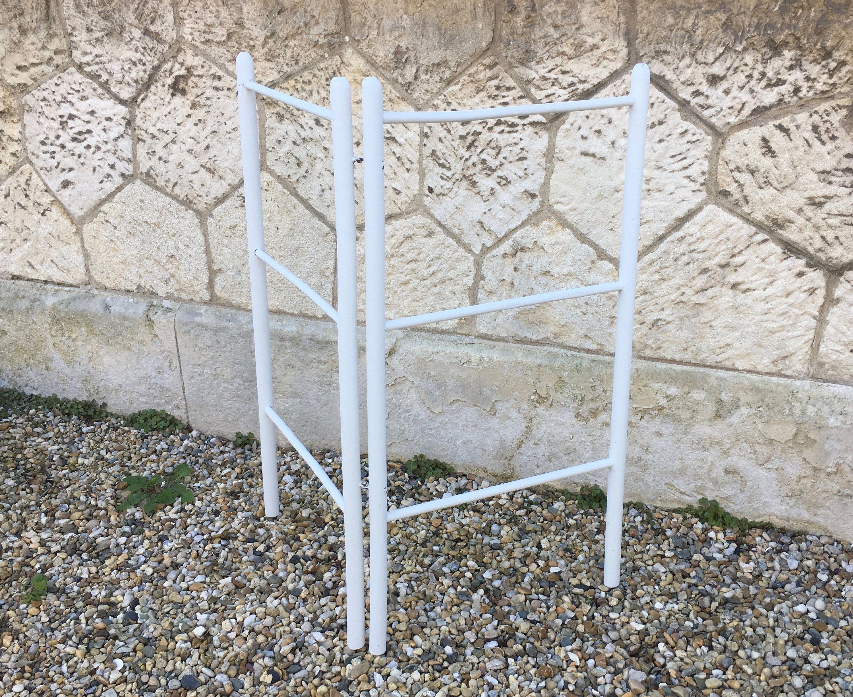Porte Serviettes Ancien Bois Blanc French Vintage Towel Holder Rack