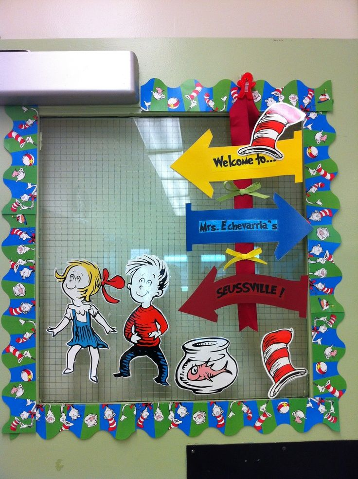 classroom birthday dr seuss decor bulletin board decorations happy pin idea
