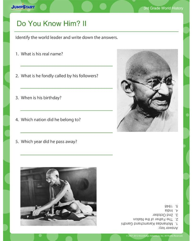 Do You Know Him? II - World History worksheets for 3rd Graders ...