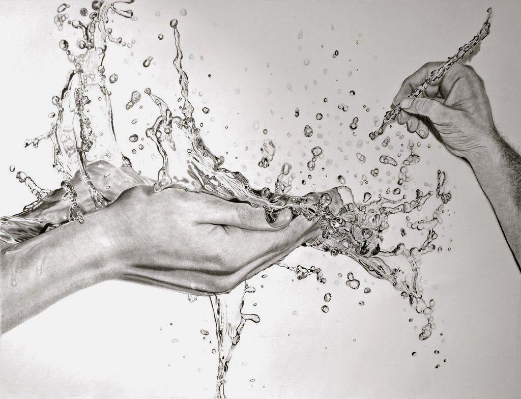 Design Stack HyperRealistic Water Pencil Drawings Drawings - Artist uses pencils to create hyperrealistic drawings of paint