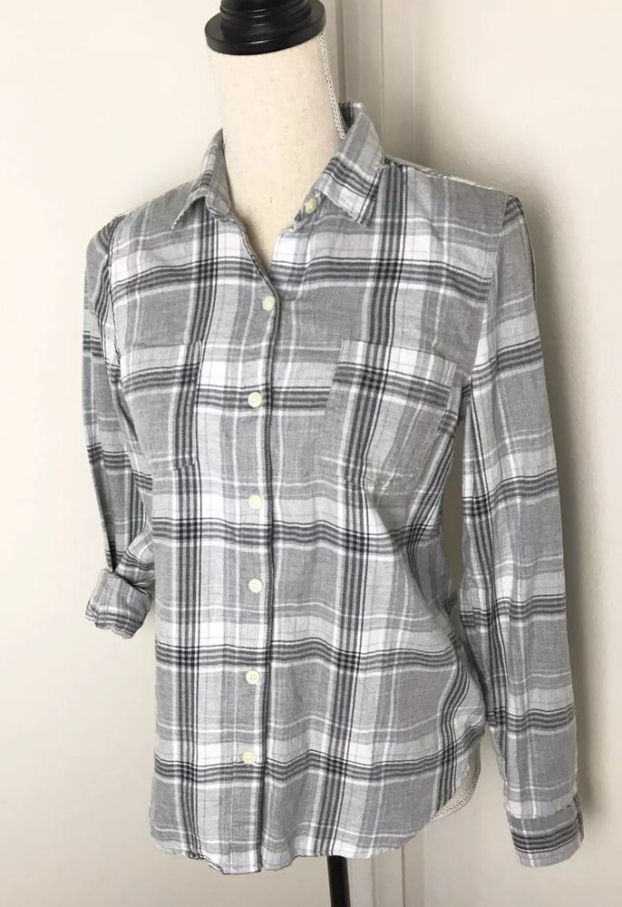 db03a850 Old Navy Classic Gray Plaid Flannel Button Down Shirt Sz XS Womens Long  Sleeve #OldNavy #ButtonDownShirt #Casual