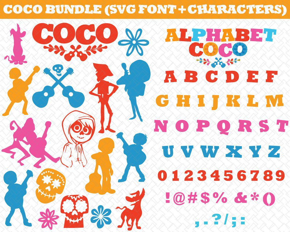 Coco Alphabet Svg Coco Svg Coco Skull Svg Coco Pixar Svg Coco Disney Svg Eps Ai Dxf Png Monogran Silhouete Cricut Clipart Decal By Disney Svg Vinyl Crafts