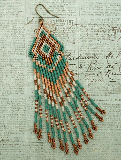Native American Fringe Earrings - Teal & Bronze