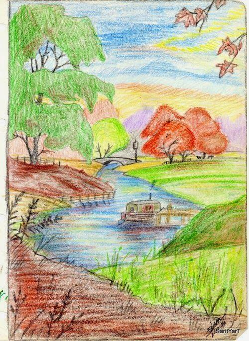 Paisaje Con Lapices De Colores Dibujos Y Pinturas Dibujo Lapiz