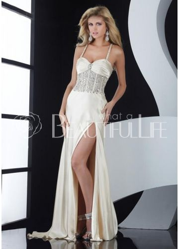 $167.99  Shining Ivory Satin Spaghetti Straps Beading And Pleats Sheath/Column Evening Dress #fashion #dress #lovely