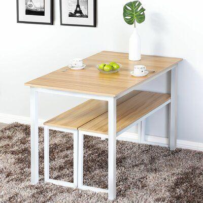 17 Stories Jaquez 3 - Piece Dining Set Table Top Colour: Natural, Table Base Colour: White, Bench Colour: Natural/White